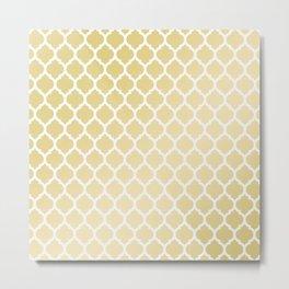 Elegant faux gold white moroccan quatrefoil pattern Metal Print