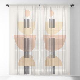 Abstraction_SUN_BEAM_SHAPE_LINE_POP_ART_0111M Sheer Curtain