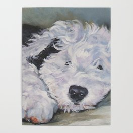 OES Old English Sheepdog dog art portrait from an original painting by L.A.Shepard Poster