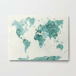 World map in watercolor green Metal Print