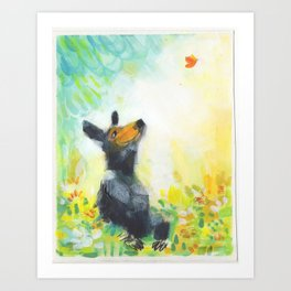 Bear with Butterfly Art Print
