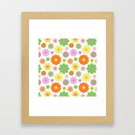 Vintage Daisy Crazy Floral Framed Art Print