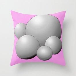 Silver 3D Balls Circle Abstract Art // Pink Background  Throw Pillow
