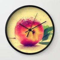 peach Wall Clocks featuring Peach  by Tanja Riedel