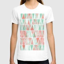 Modern Coral Pink Mint Green Tribal Triangles T-shirt