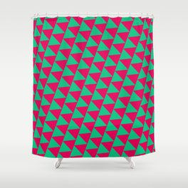 Green and pink triangle graphic Shower Curtain