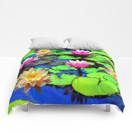 PINK & YELLOW WATER LILIES POND Comforters