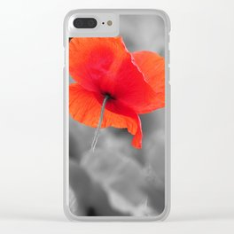 Poppy black and white photography with red splashes of color Clear iPhone Case