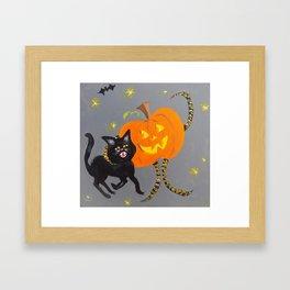 Jack and Black Cat Framed Art Print