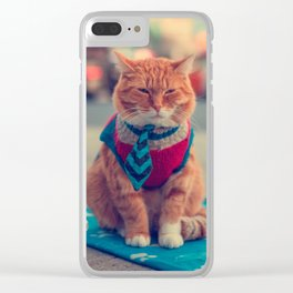 Tie Beige Cat Sitting Begging Clear iPhone Case