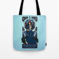 bioshock infinite Tote Bags featuring Infinite Nouveau by Miss-Lys