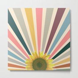 Sun flower retro Metal Print