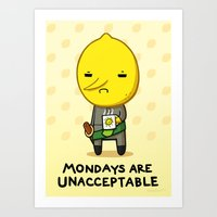 lemongrab Art Prints featuring Yay Monday, Lemongrab by fablefire