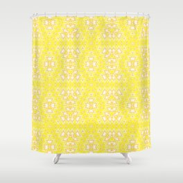 Yellow, ethnic ornament Shower Curtain