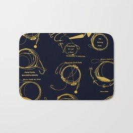Maritime pattern- Gold fishing gear on darkblue background Bath Mat