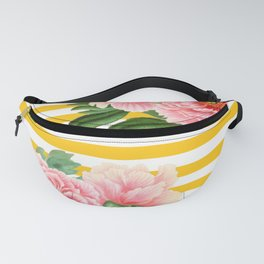 Pink Peonies Yellow Stripes Fanny Pack