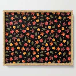 Autumn Leaves Pattern Black Background Serving Tray