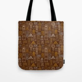 Brown Wall of Clocks Tote Bag