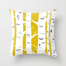 Mustard Birches Throw Pillow
