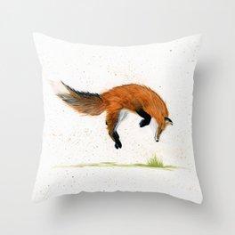 Jumping Jack Fox - animal watercolor painting Throw Pillow