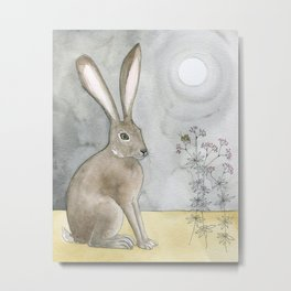 Hare and Cricket Metal Print