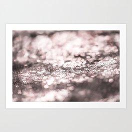 Shiny rose sparkling bokeh Art Print