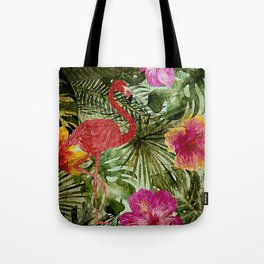 Tropical Vintage Exotic Jungle- Floral and Flamingo watercolor pattern Tote Bag