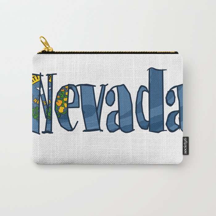 Nevada Font with Nevadan Flag Carry-All Pouch