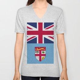 Fiji flag emblem Unisex V-Neck