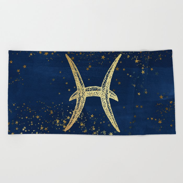 Pisces Zodiac Sign Beach Towel