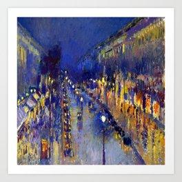 Pissarro Montmartre Boulevard Night Art Print