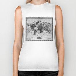 Vintage Map of The World (1833) White & Black Biker Tank