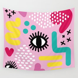 Pink Abstract PopArt Wall Tapestry