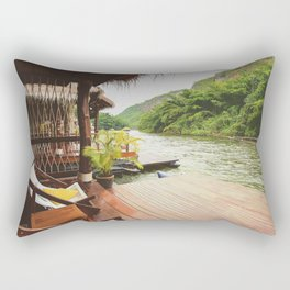 Peaceful wooden boathouse terrace at riverfront Rectangular Pillow