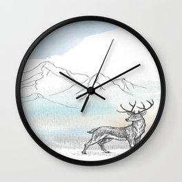 The Stag at the foot of the mountain Wall Clock