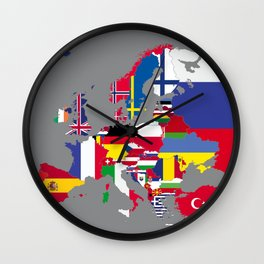 Europe flags grey Wall Clock