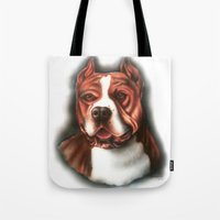 pitbull Tote Bags featuring Pitbull Pride by Chris Furguson