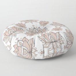 Lotus Mandala Doodle Pink Marble Pattern Floor Pillow