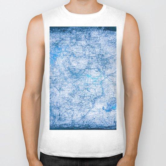 Blue Shimmer Map Design Biker Tank
