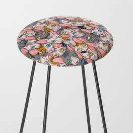 diverse sphynx cat allover print Counter Stool