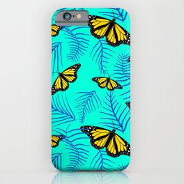 yellow butterflies in blue leaves iPhone Case