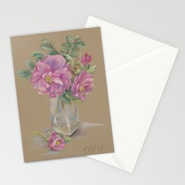 Wilde Rose bouquet in the glass Pink Rose Flowers Still Life Colorful Pastel drawing Stationery Cards