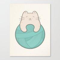 knit Canvas Prints featuring knit cat by kim vervuurt