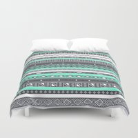 tiffany Duvet Covers featuring Tiffany Turquoise Aztec Print by RexLambo