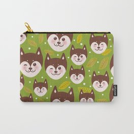 seamless pattern funny brown husky dog and leaves, Kawaii face with large eyes and pink cheeks Carry-All Pouch