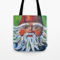 gnome Tote Bags featuring Garden Gnome  by Juliette Caron