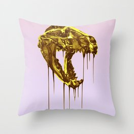 "Painted Skull ""Badger"" Gold Throw Pillow"