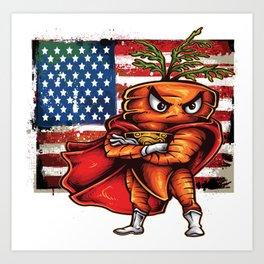 Angry Carrot USA Flag Foodietoon SuperHero Art Print