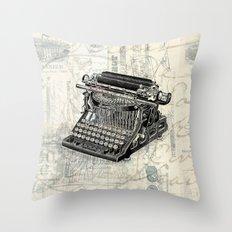 Vintage French Typewriter Throw Pillow