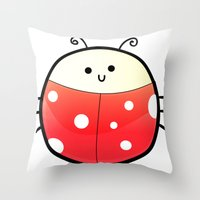 ladybug Throw Pillows featuring LADYBUG by Ylenia Pizzetti
